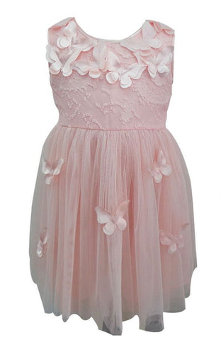 Popatu Little Girls Peach Butterfly Tulle Dress - Popatu pageant and easter petti dress