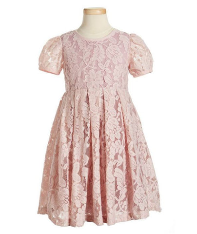 Popatu Little Girls Mauve Lace Tulle Dress - Popatu pageant and easter petti dress