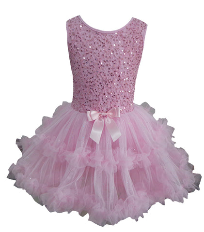 Popatu Little Girls Pink Sequin Petti Dress - Popatu pageant and easter petti dress