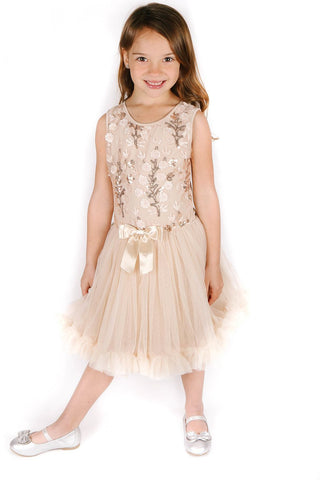Popatu Little Girls Ivory Sequin Flower Petti Dress - Popatu pageant and easter petti dress