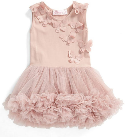 Popatu Little Girls Dusty Pink Butterfly Ruffle Dress - Popatu pageant and easter petti dress