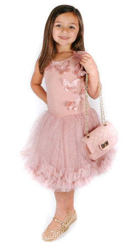 Popatu Little Girls Dusty Pink Butterfly Petti Dress