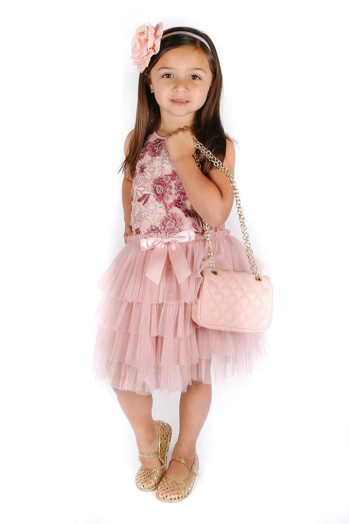 Popatu Little Girls Dusty Pink Tulle Dress