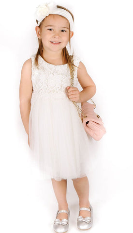 Popatu White Lace Dress - Popatu pageant and easter petti dress