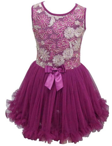 Popatu Little Girls Purple and Silver Petti Dress - Popatu pageant and easter petti dress