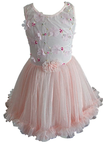 Popatu Little Girls Peach Flower Petti Dress