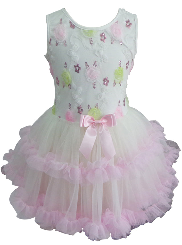 Popatu Little Girls White And Pink Floral Petti Dress