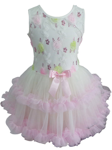 Popatu Girls White And Pink Floral Petti Dress - Popatu pageant and easter petti dress