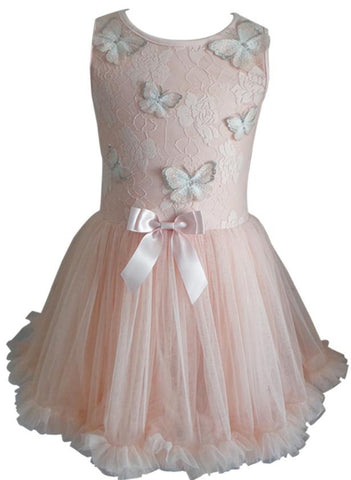 Popatu Little Girls Peach Butterfly Dress