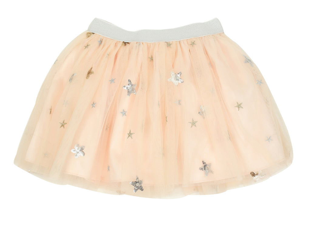 Popatu Little Girls Peach Sequin Star Tutu Skirt - Popatu pageant and easter petti dress