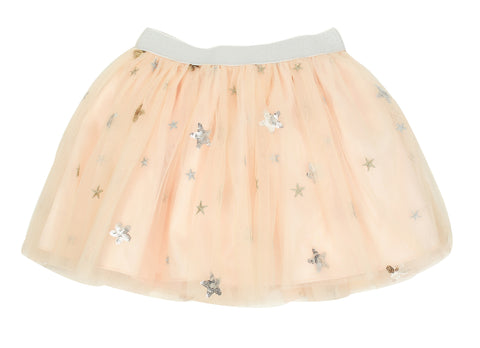 Popatu Little Girls Peach Sequin Star Tutu Skirt