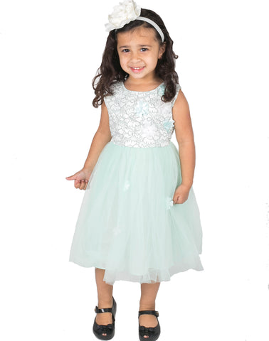 Popatu Little Girls Mint Tulle Dress - Popatu pageant and easter petti dress