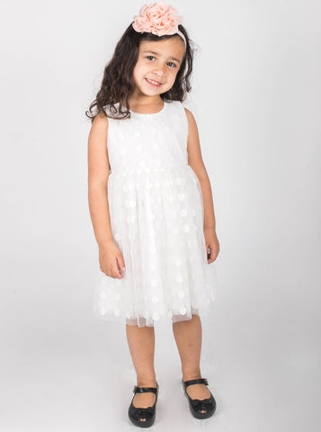 Popatu Little Girls White Lace Dress - Popatu pageant and easter petti dress