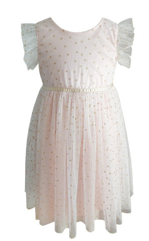 Popatu Little Girls Light Peach Polka Dots Dress - Popatu pageant and easter petti dress