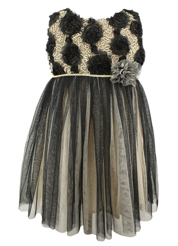 Black and Gold Tulle Dress - Popatu pageant and easter petti dress