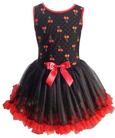Popatu Girls Red & Black Petti Dress