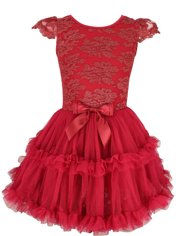 Popatu Burgundy Lace Petti Dress - Popatu pageant and easter petti dress