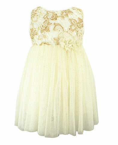 Popatu Gold Floral Tulle Dress
