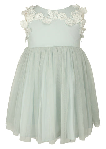 Floral Applique Tulle Dress - Popatu pageant and easter petti dress
