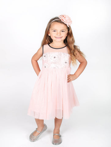 Popatu Little Girls Sequin Floral Tulle Dress - Popatu pageant and easter petti dress