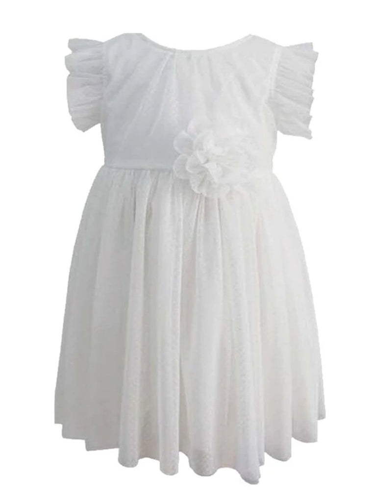 Popatu Little Girls White Tulle Dress - Popatu pageant and easter petti dress