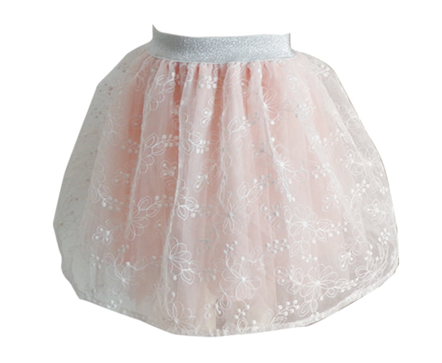 Little Girls Embroidered Overlay Skirt