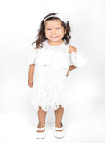 Popatu Little Girls White Ruffle Shoulder Dress - Popatu pageant and easter petti dress