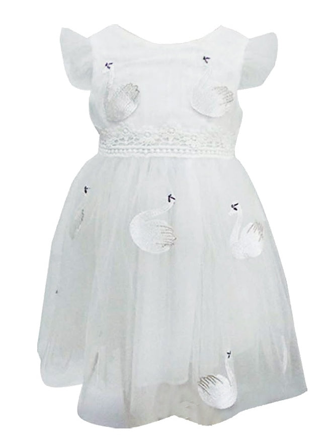Popatu Little Girls White Swan Tulle Dress - Popatu pageant and easter petti dress