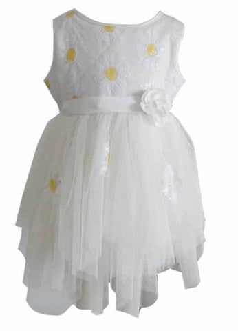 Popatu Little Girls White Daisy Tulle Dress - Popatu pageant and easter petti dress