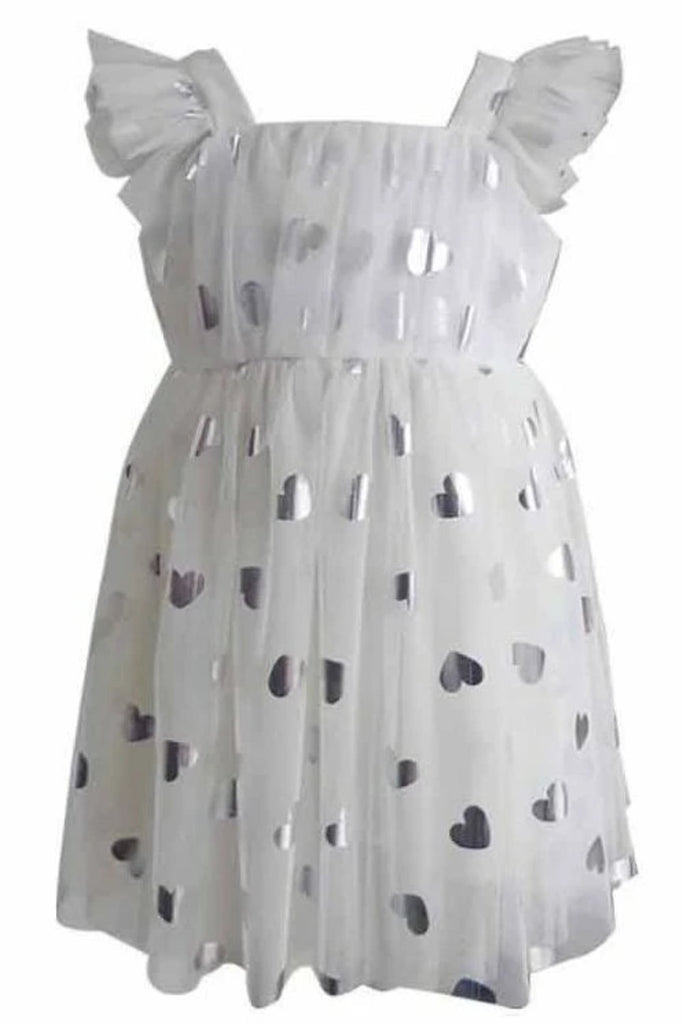 Popatu Little Girls White Heart Tulle Dress - Popatu pageant and easter petti dress