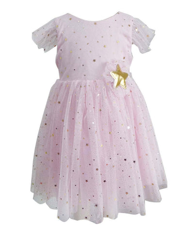 Popatu Little Girls Pink Gold Stars & Moon Tulle Dress - Popatu pageant and easter petti dress