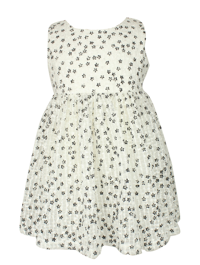 Little Girls White and Black Flower Dress