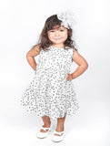 Popatu Little Girls White Mini Flower Dress - Popatu pageant and easter petti dress