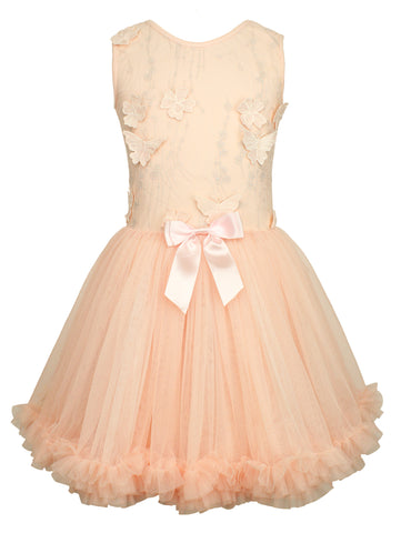 Little Girls Butterfly Ruffle Dress