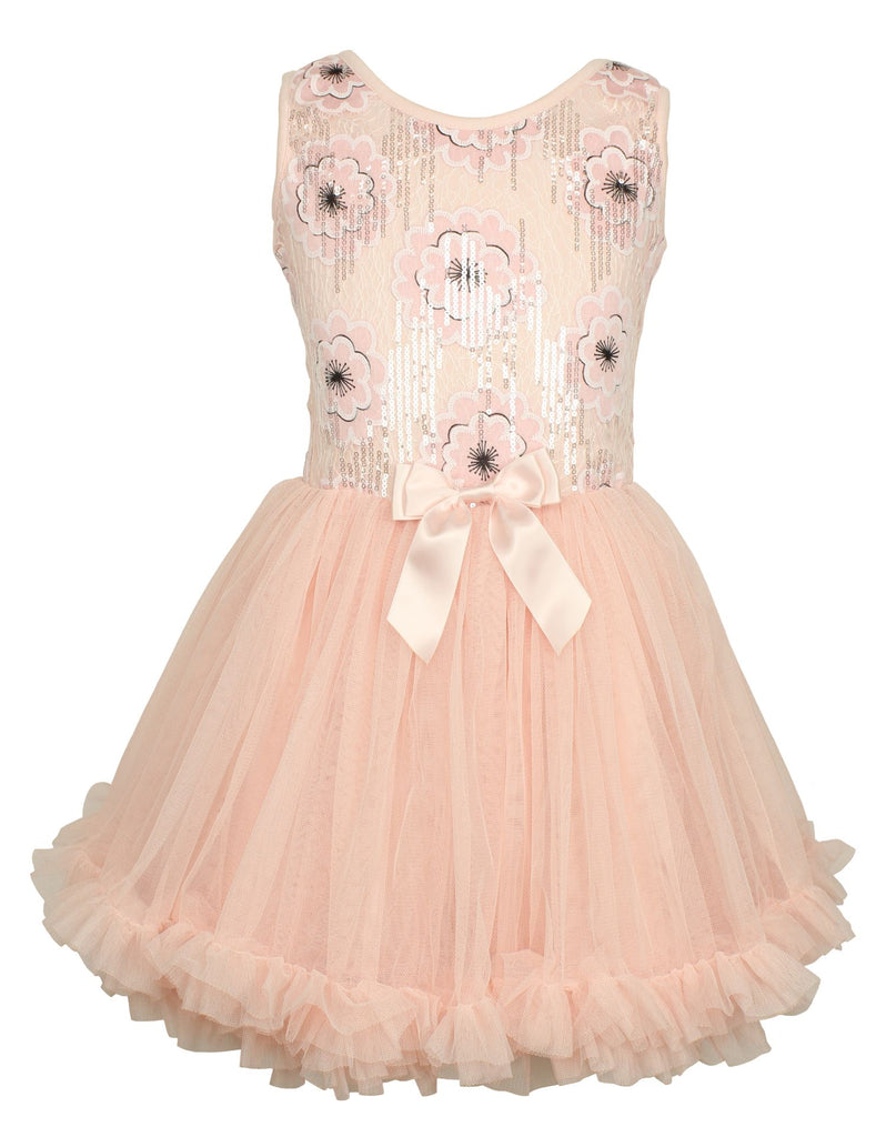 Popatu Little Girls Light Peach Sequin Flower Petti Dress - Popatu pageant and easter petti dress