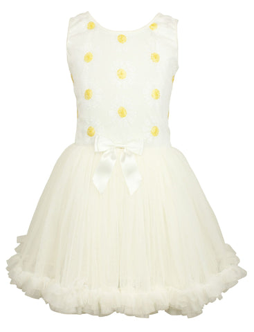 Popatu Little Girls White Sequin Daisy Petti Dress - Popatu pageant and easter petti dress