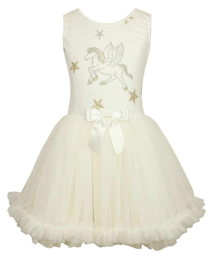 Popatu Little Girls White Horse Petti Dress - Popatu pageant and easter petti dress
