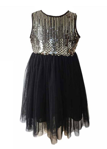 Popatu Little Girls Black & Gold Metallic Dress - Popatu pageant and easter petti dress