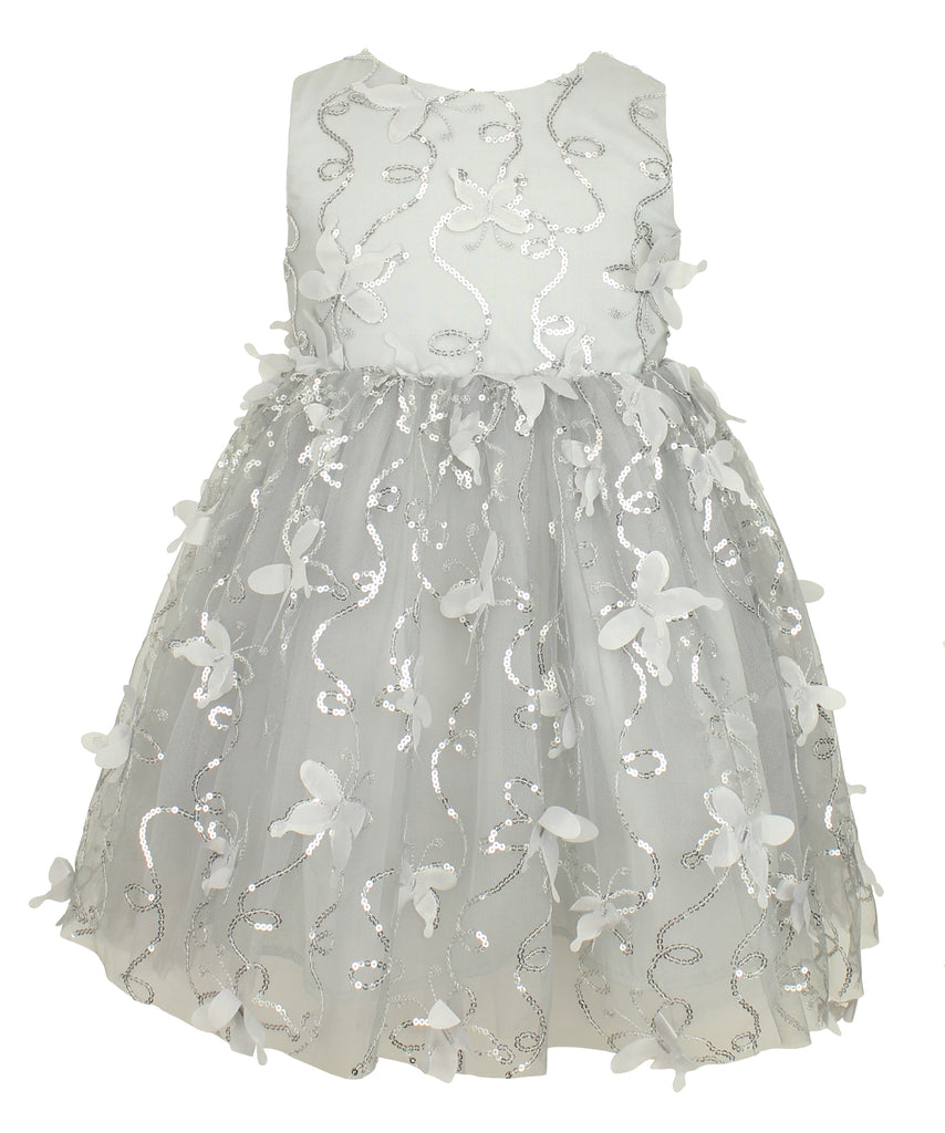 Silver Sequin Butterfly Dress - Popatu pageant and easter petti dress