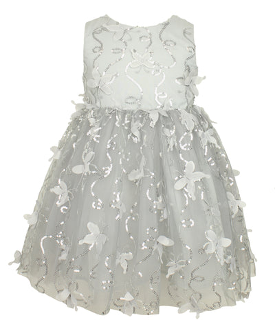 Silver Sequin Butterfly Dress