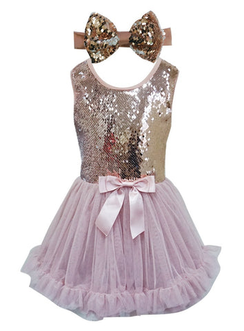 Dusty Rose Reverseble Sequin Petti Dress - Popatu pageant and easter petti dress