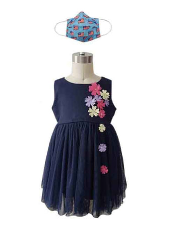 USA NAVY DRESS + USA BLUE FABRIC FACE MASK-2PCS - Popatu pageant and easter petti dress