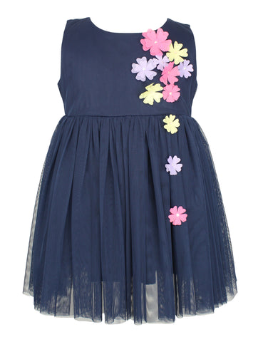 Navy Blue Flower Tulle Dress - Popatu pageant and easter petti dress