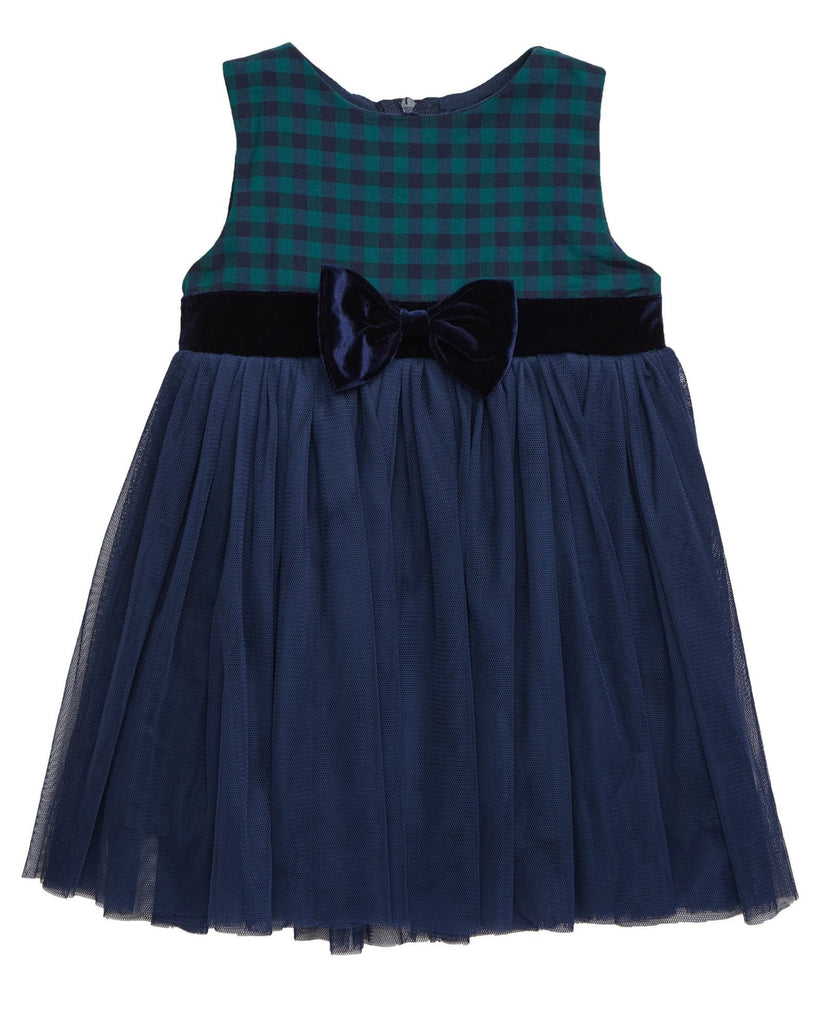 Popatu Baby Girls Navy/Green Tulle Dress - Popatu pageant and easter petti dress