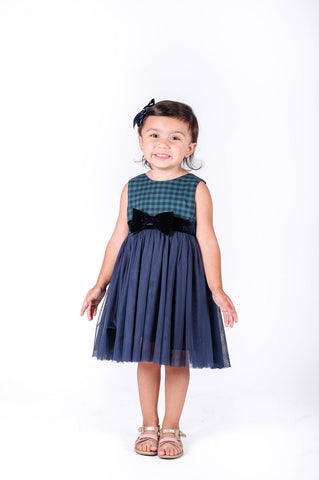 Popatu Little Girls Navy/Green Tulle Dress - Popatu pageant and easter petti dress