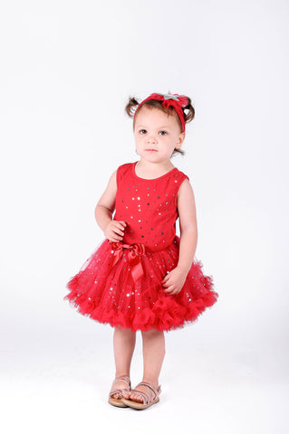 Popatu Little Girl's Stars  Petti Dress - Popatu pageant and easter petti dress