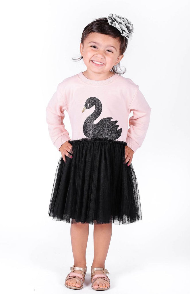 Black Swan Long Sleeve Tulle Dress - Popatu pageant and easter petti dress