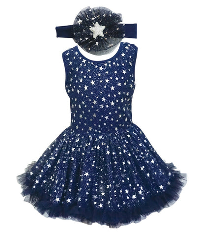 Popatu Little Girls Silver Star Ruffle Dress - Popatu pageant and easter petti dress