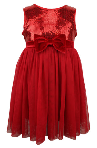 Popatu Little Girls Red Sequins Tulle Dress - Popatu pageant and easter petti dress