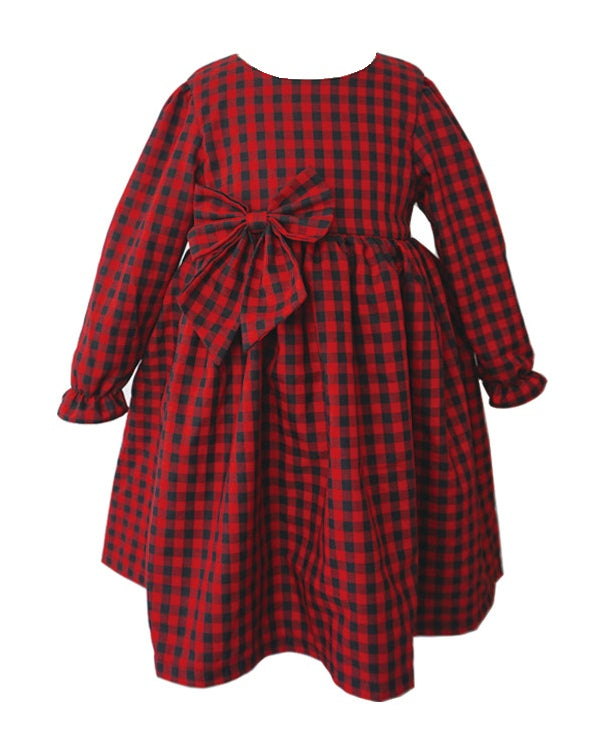 Popatu Little Girl's Red Long Sleeve Dress - Popatu pageant and easter petti dress